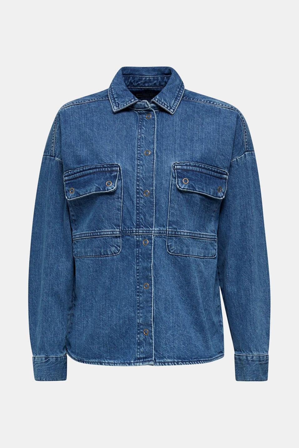 Denim shirt jacket, 100% cotton, BLUE MEDIUM WASH, detail image number 5