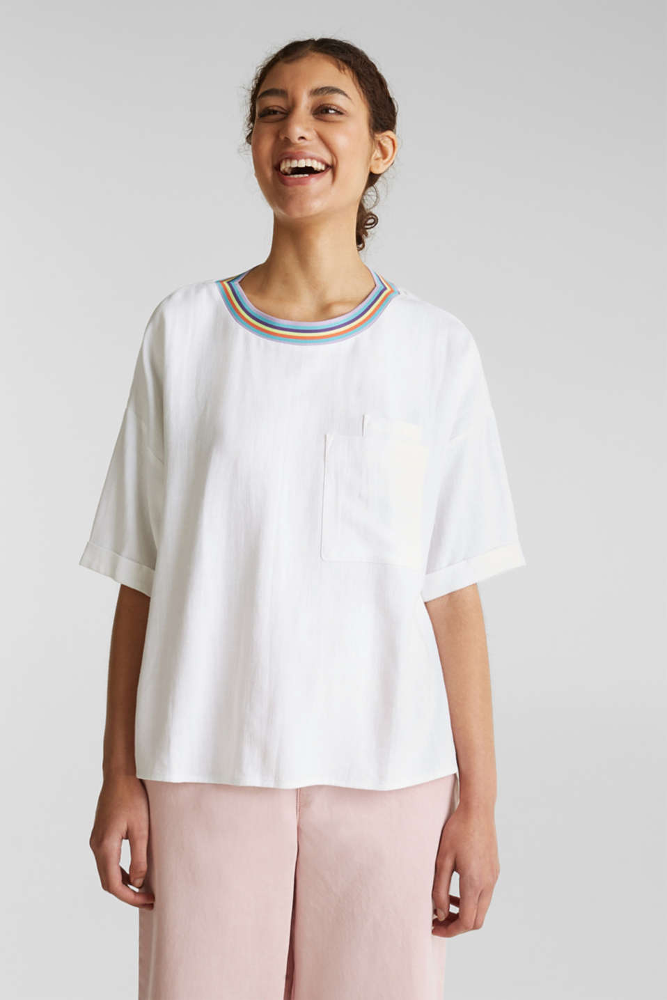 Blouse top with breast pockets, WHITE, detail image number 0