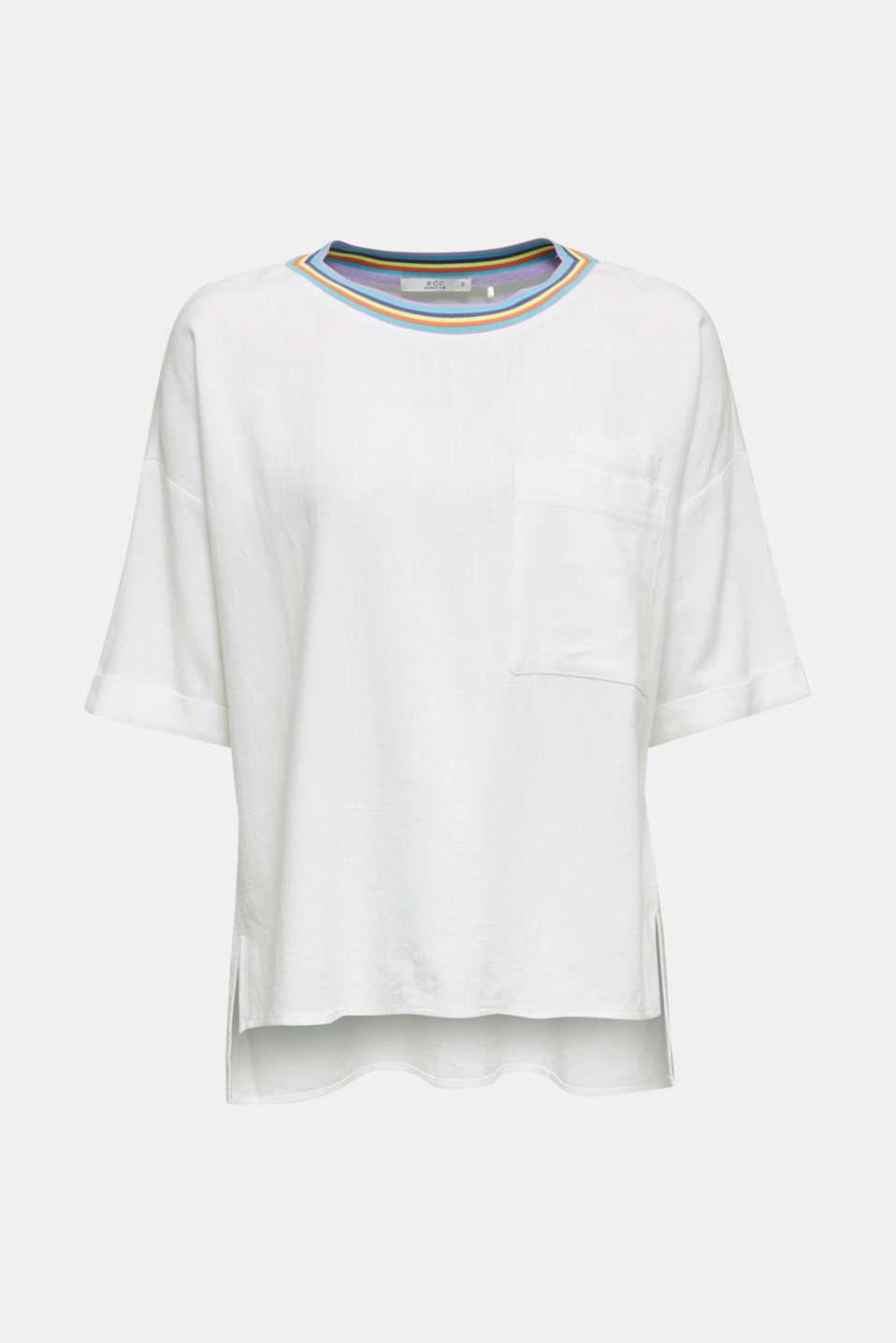 Blouse top with breast pockets, WHITE, detail image number 7