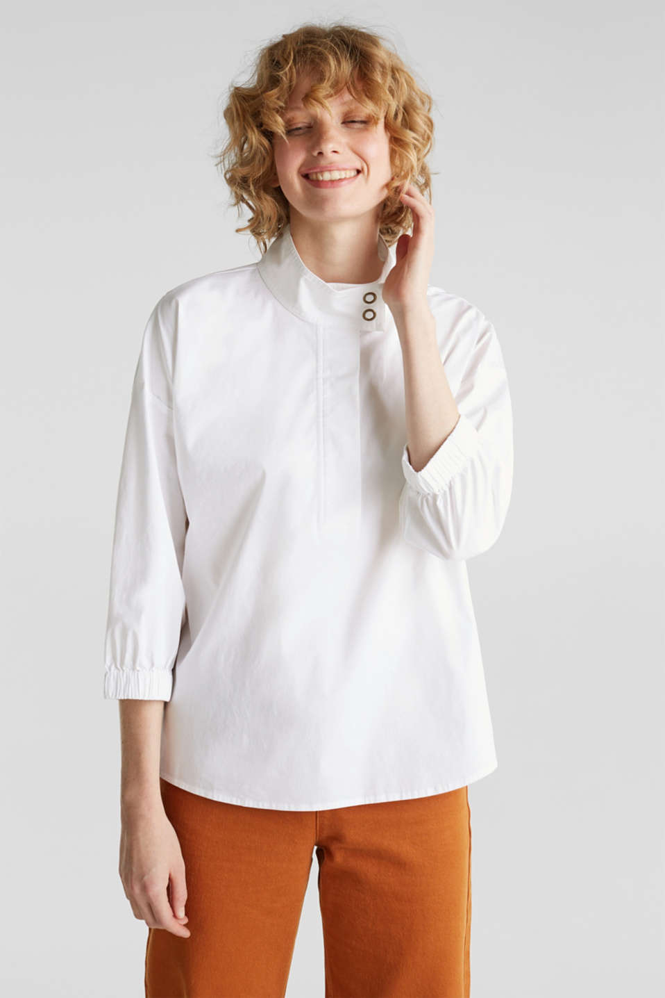 edc - Stretch blouse with a stand-up collar