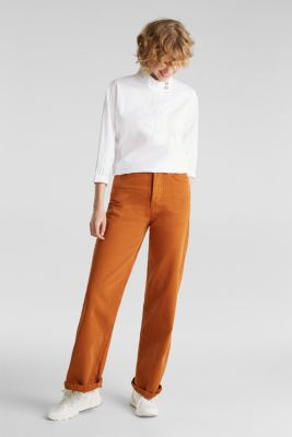 Stretch blouse with a stand-up collar, WHITE, detail