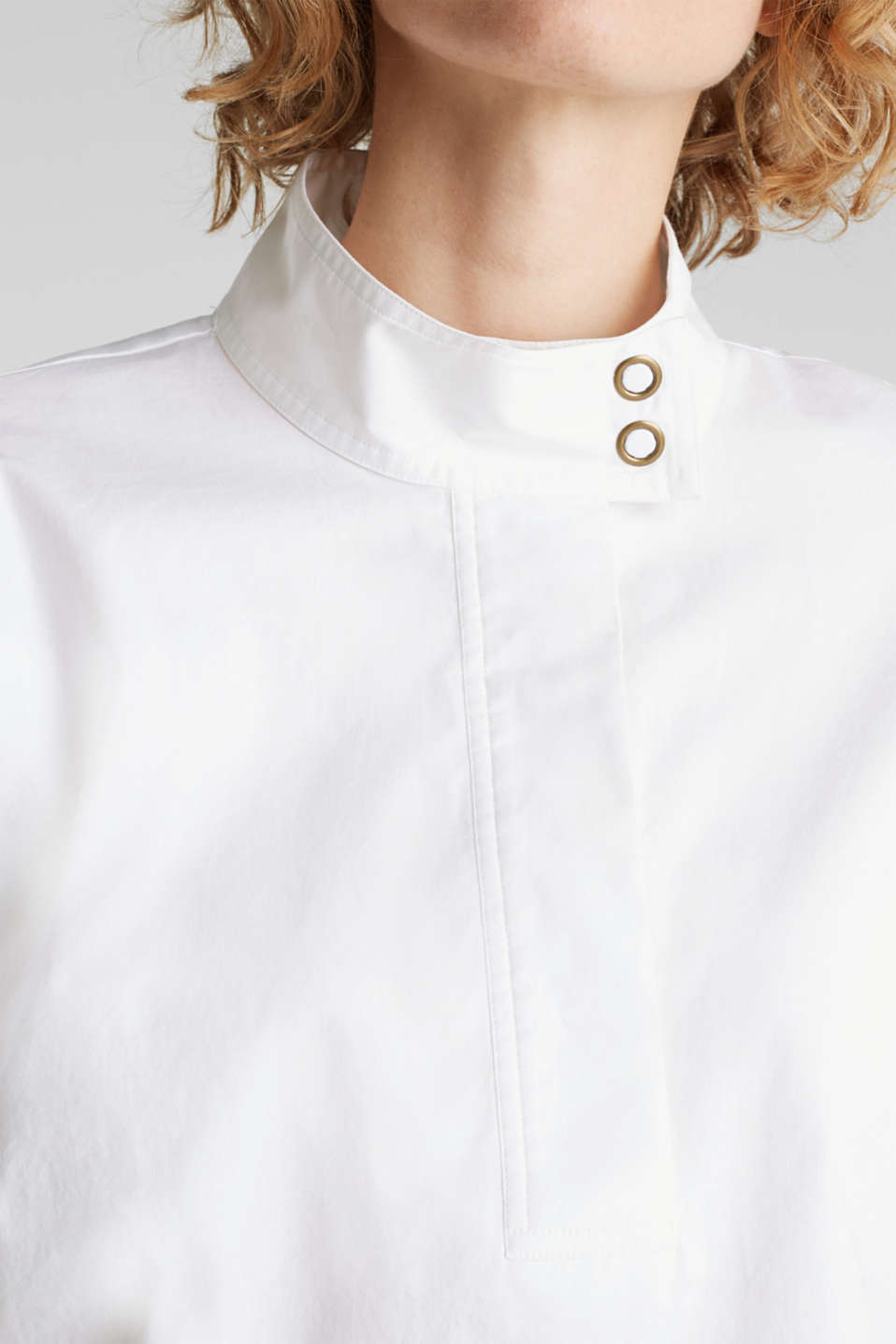 Stretch blouse with a stand-up collar, WHITE, detail image number 2
