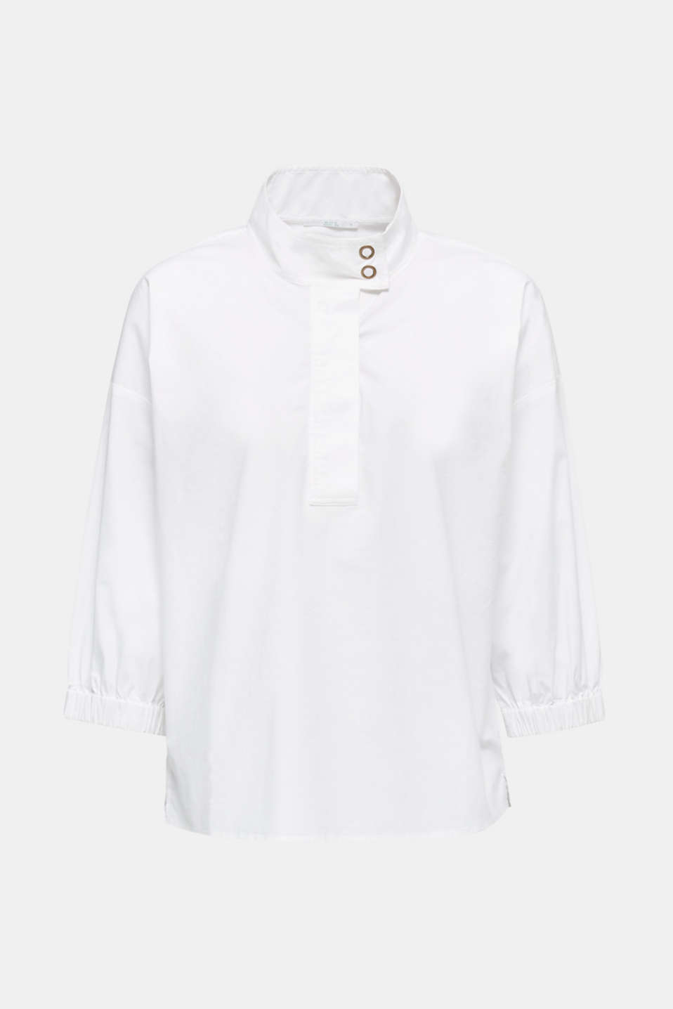 Stretch blouse with a stand-up collar, WHITE, detail image number 7