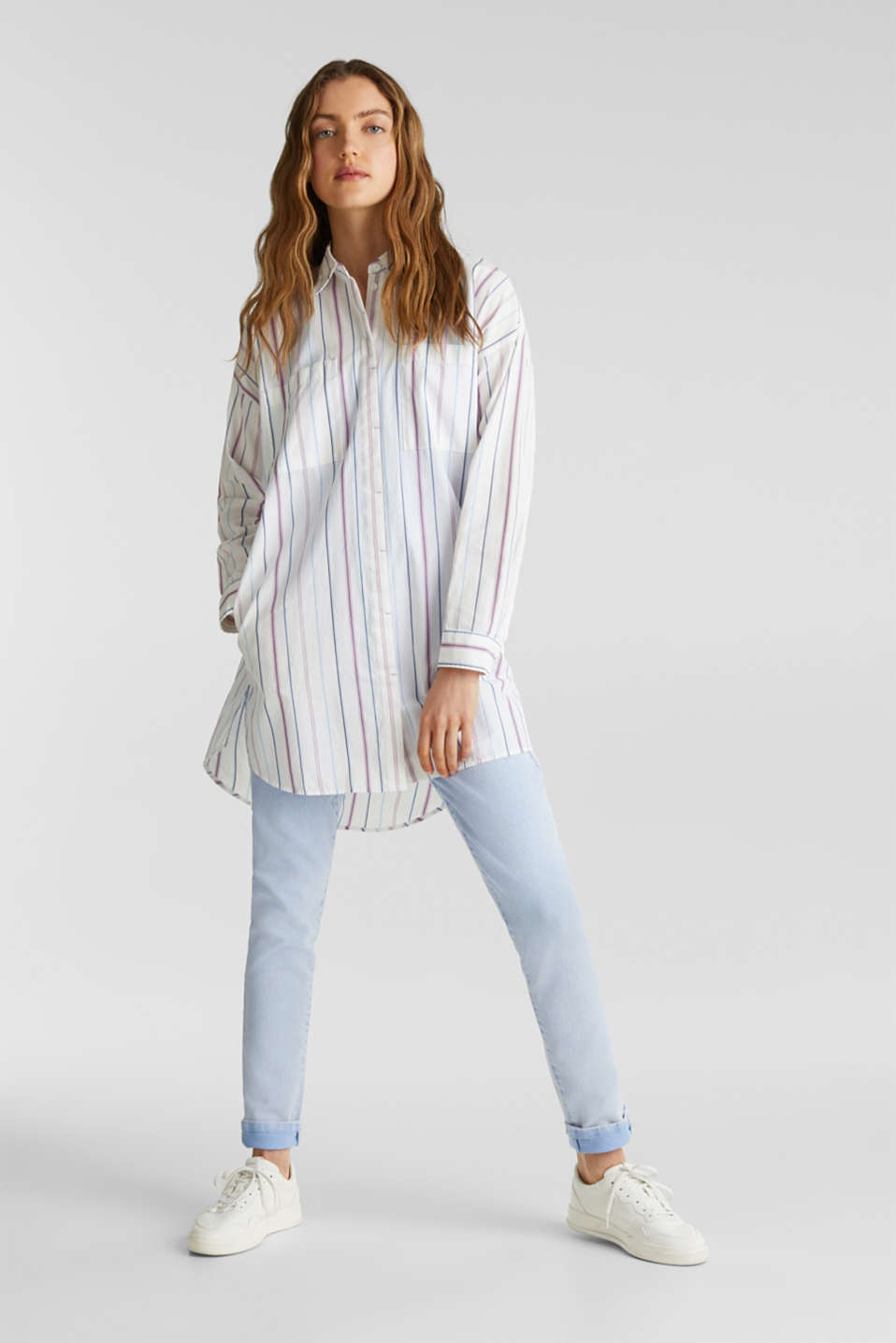 edc - Long shirt blouse, 100% cotton
