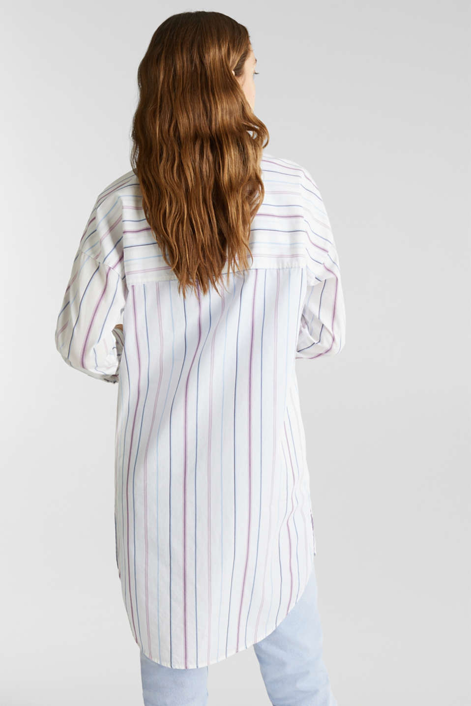 Long shirt blouse, 100% cotton, WHITE 3, detail image number 3