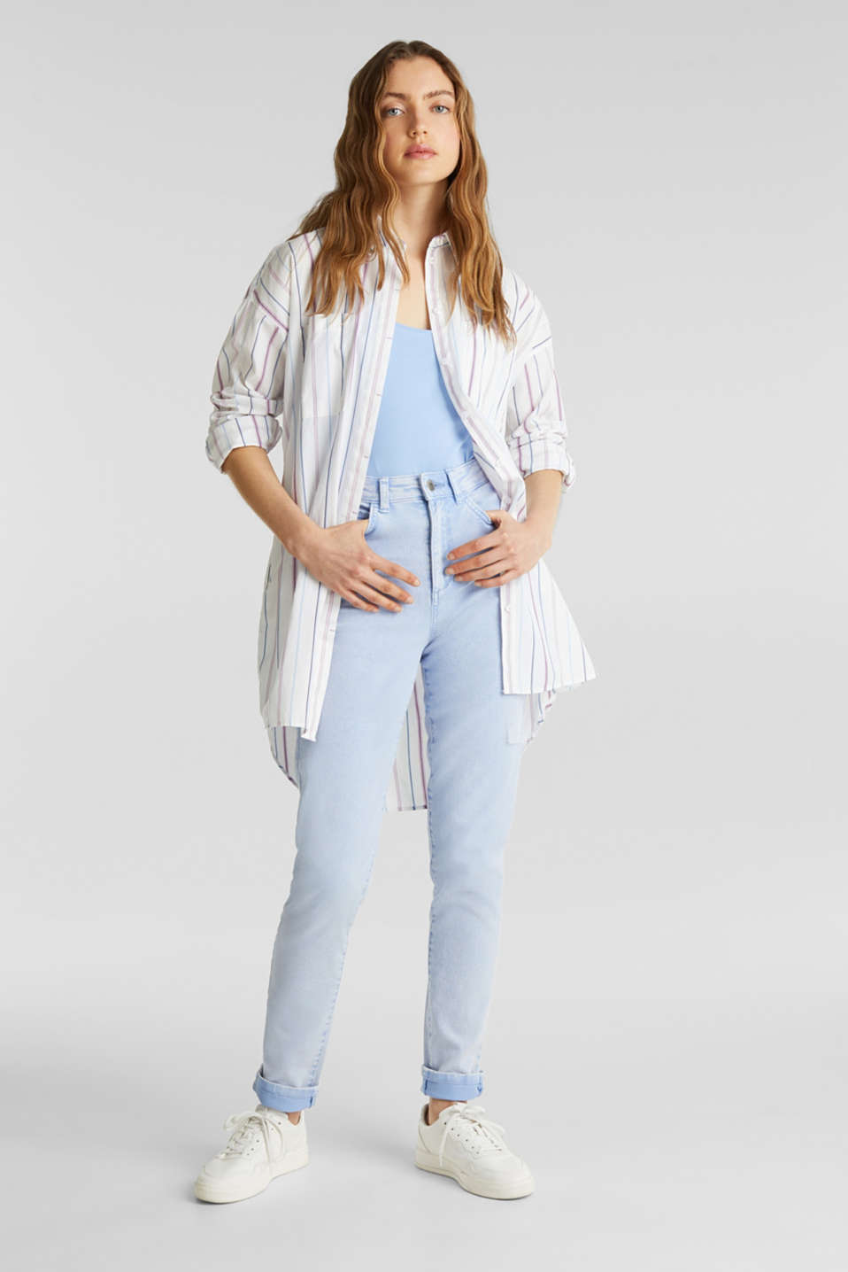 Long shirt blouse, 100% cotton, WHITE 3, detail image number 1