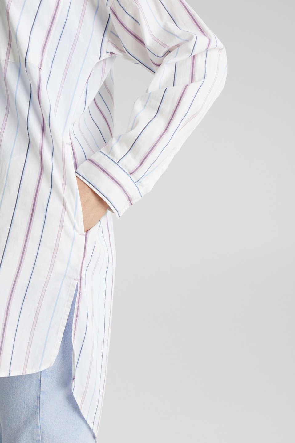 Long shirt blouse, 100% cotton, WHITE 3, detail image number 2