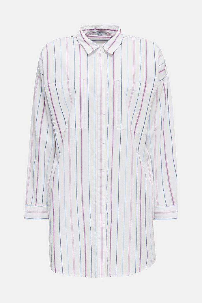 Lang skjortebluse, 100% bomuld