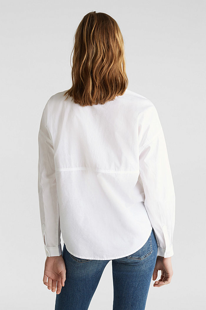 Oversized blouse with breast pockets, 100% cotton, WHITE, detail image number 3