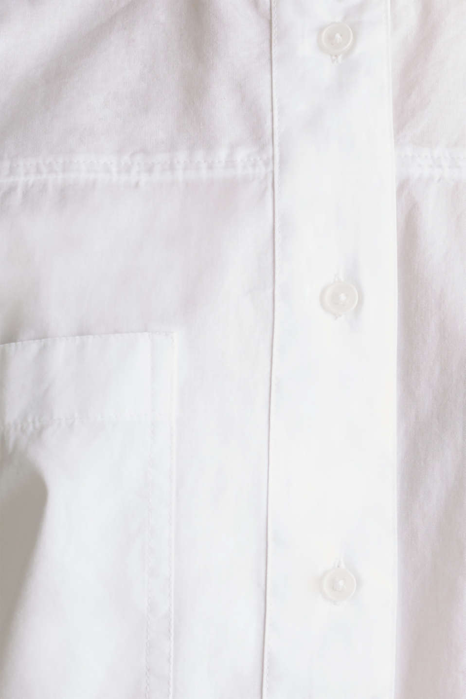 Oversized blouse with breast pockets, 100% cotton, WHITE, detail image number 4