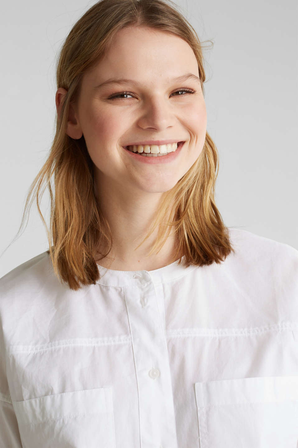 Oversized blouse with breast pockets, 100% cotton, WHITE, detail image number 5
