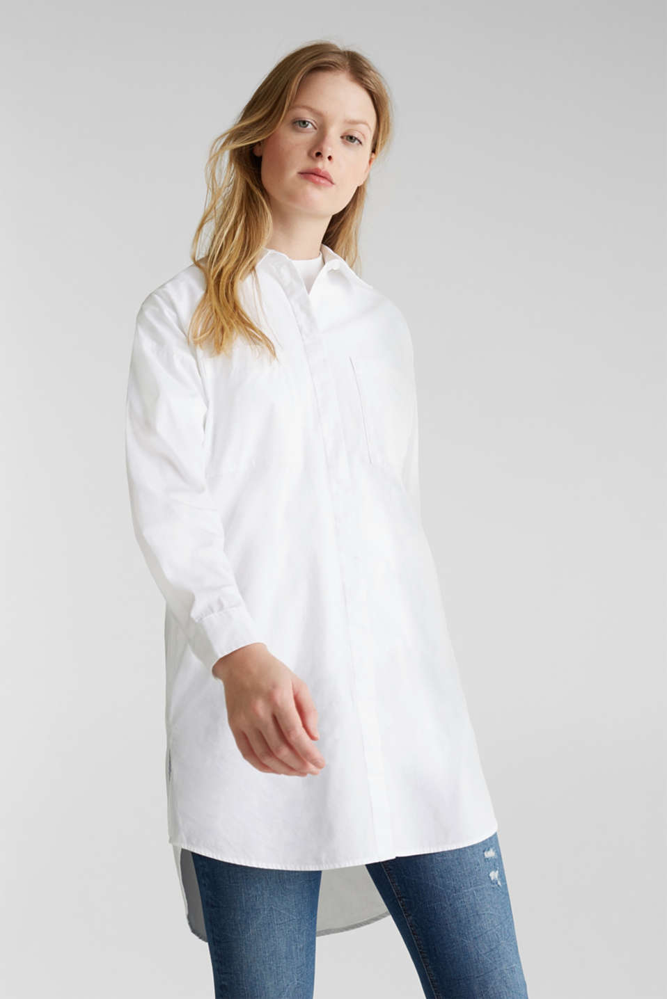 edc - Long blouse with slit pockets, 100% cotton