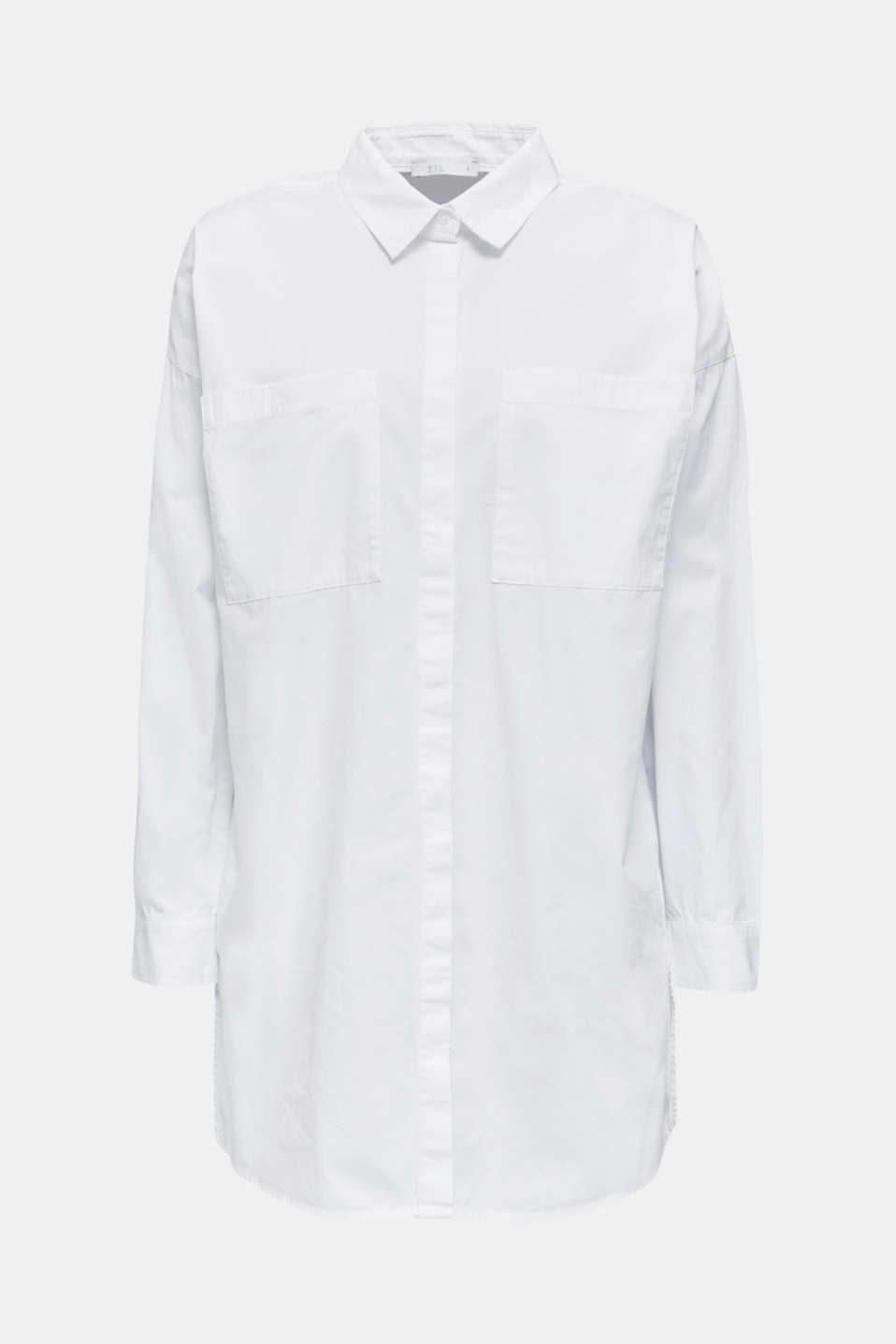 Long blouse with slit pockets, 100% cotton, WHITE, detail image number 6