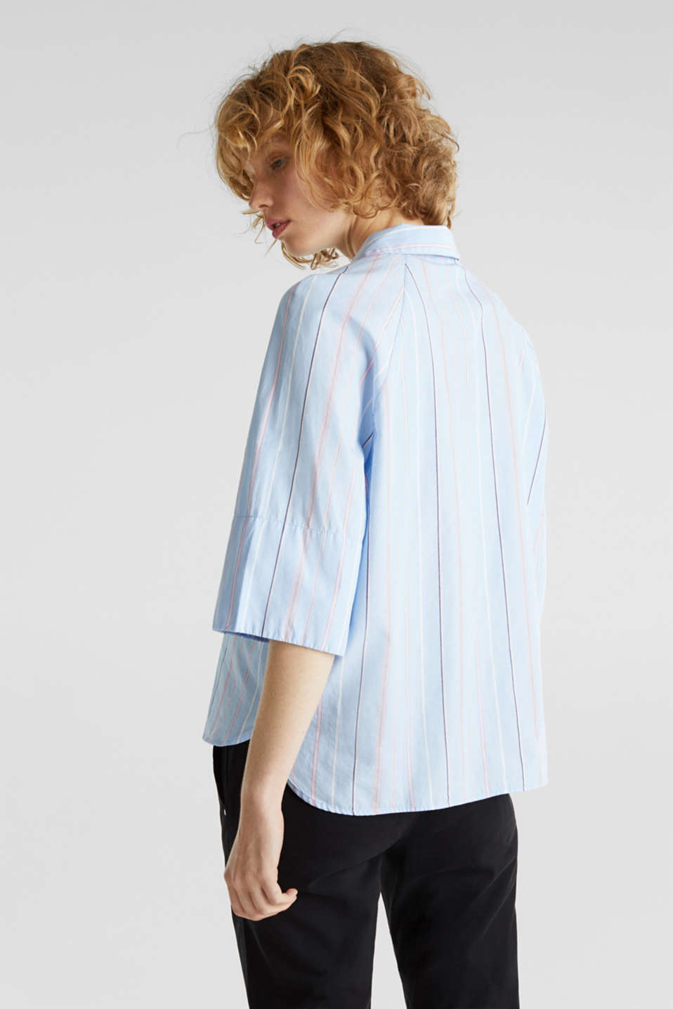 Boxy-cropped shirt blouse made of 100% cotton, LIGHT BLUE 3, detail image number 3
