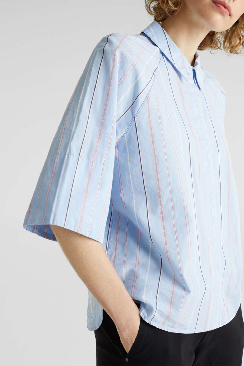 Boxy-cropped shirt blouse made of 100% cotton, LIGHT BLUE 3, detail image number 2
