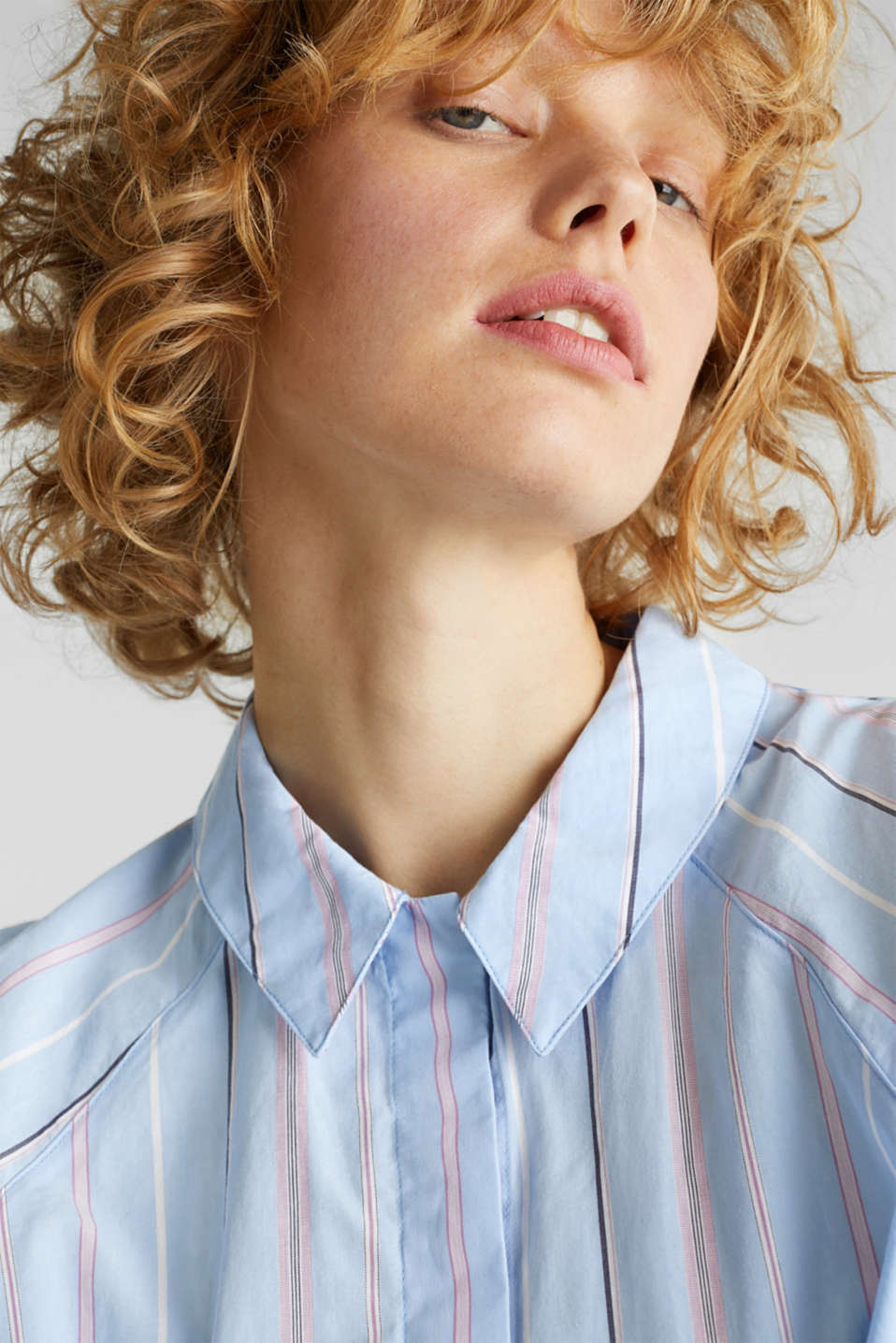 Boxy-cropped shirt blouse made of 100% cotton, LIGHT BLUE 3, detail image number 5