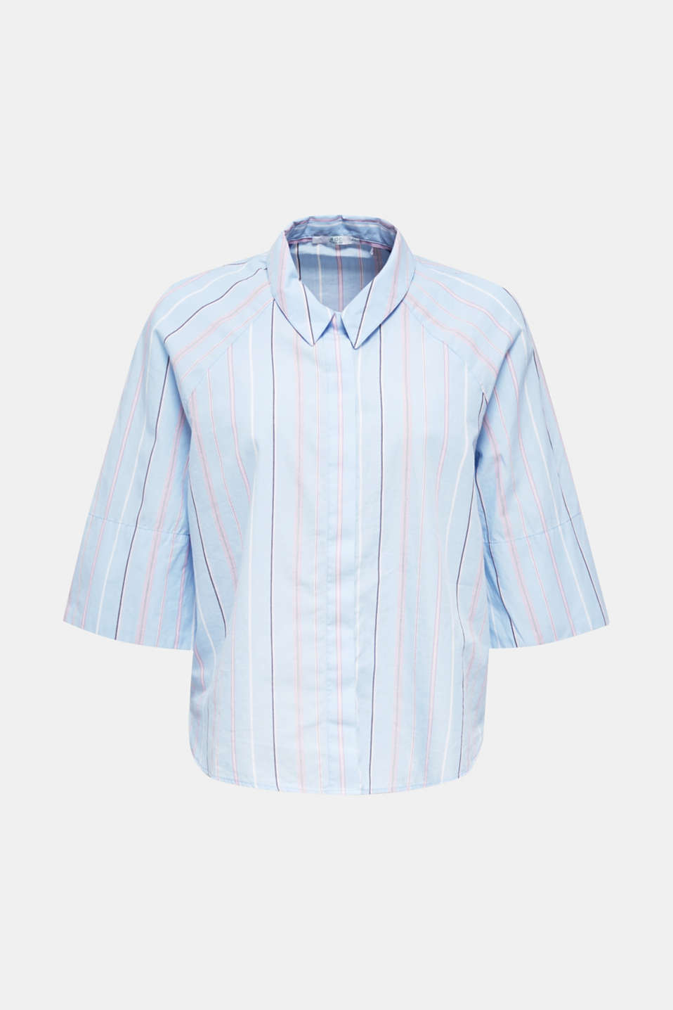 Boxy-cropped shirt blouse made of 100% cotton, LIGHT BLUE 3, detail image number 6