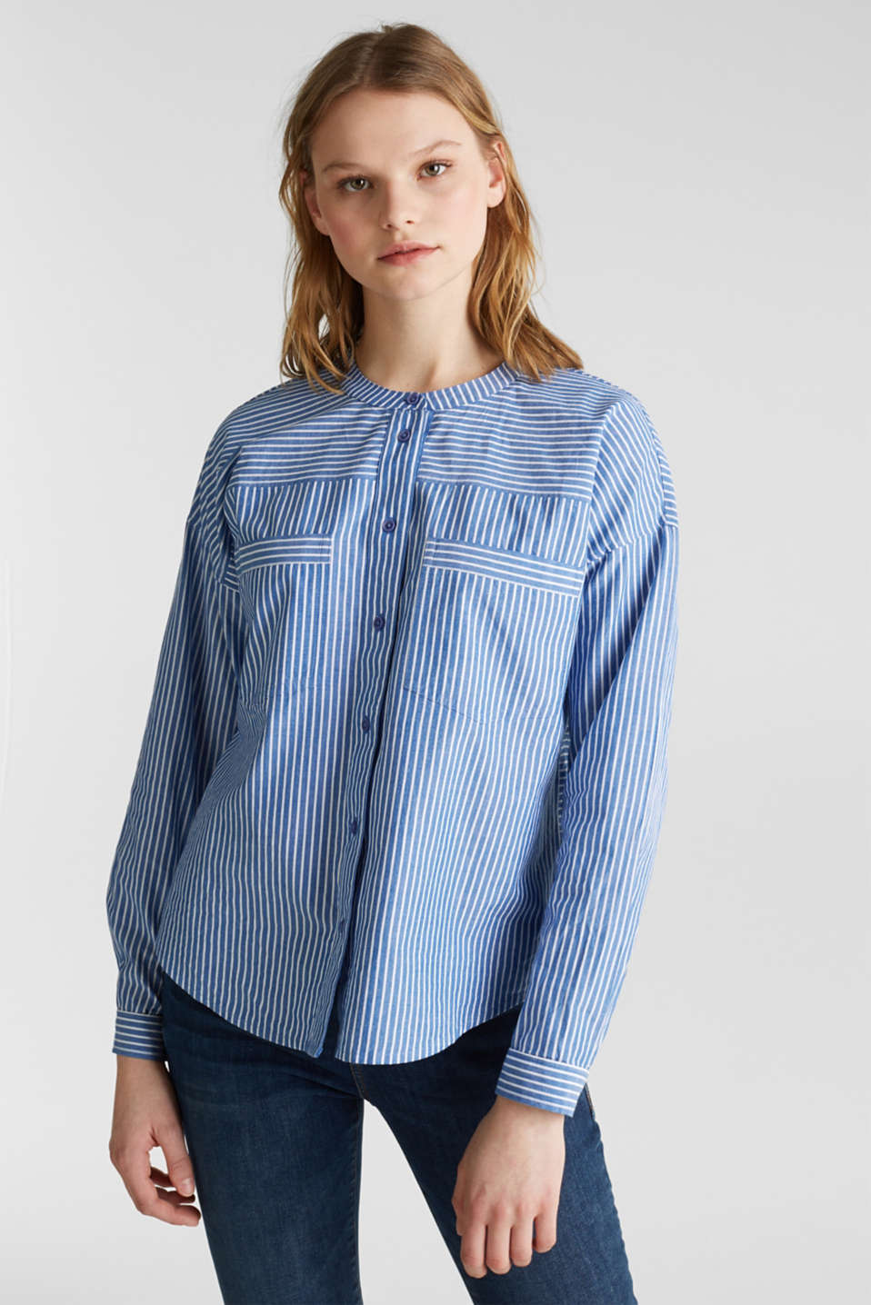 Striped oversized blouse, 100% cotton, BLUE LAVENDER 2, detail image number 0
