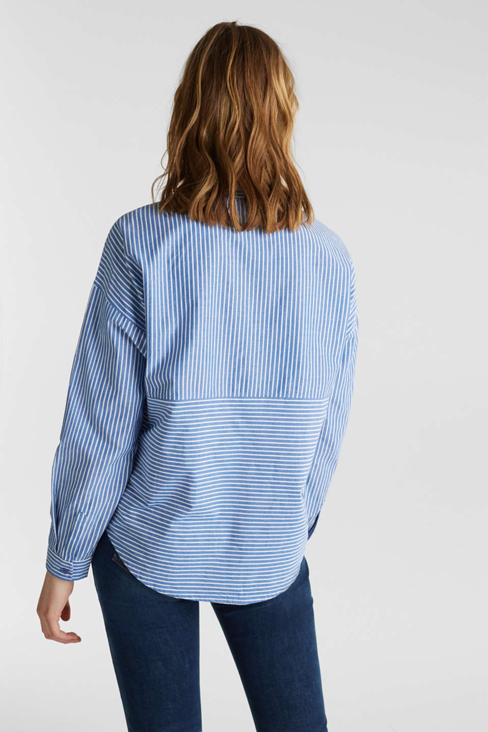 Striped oversized blouse, 100% cotton, BLUE LAVENDER 2, detail image number 3