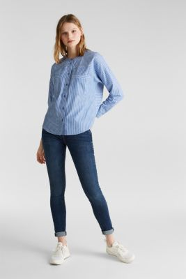 Striped oversized blouse, 100% cotton, BLUE LAVENDER 2, detail