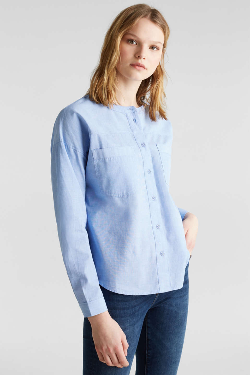 edc - Oversized chambray blouse, 100% katoen
