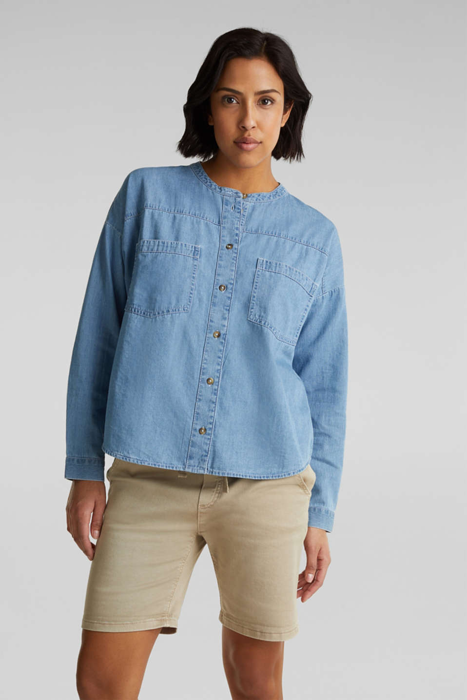 edc - Collarless denim blouse, 100% cotton