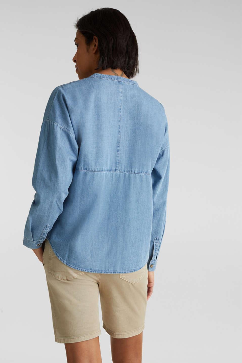Collarless denim blouse, 100% cotton, BLUE LIGHT WASH, detail image number 3