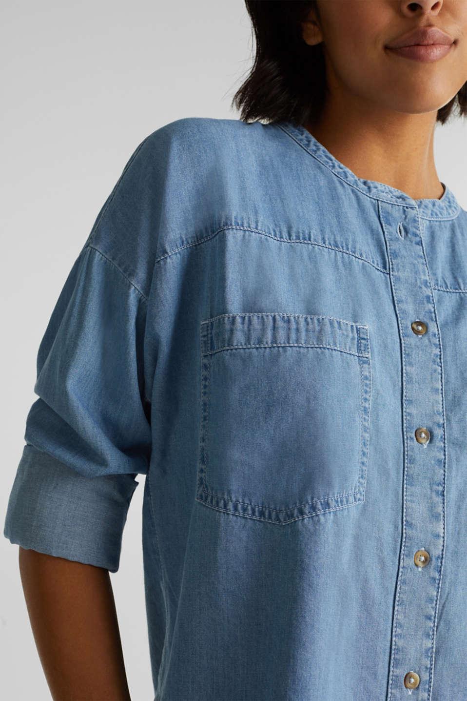 Collarless denim blouse, 100% cotton, BLUE LIGHT WASH, detail image number 2