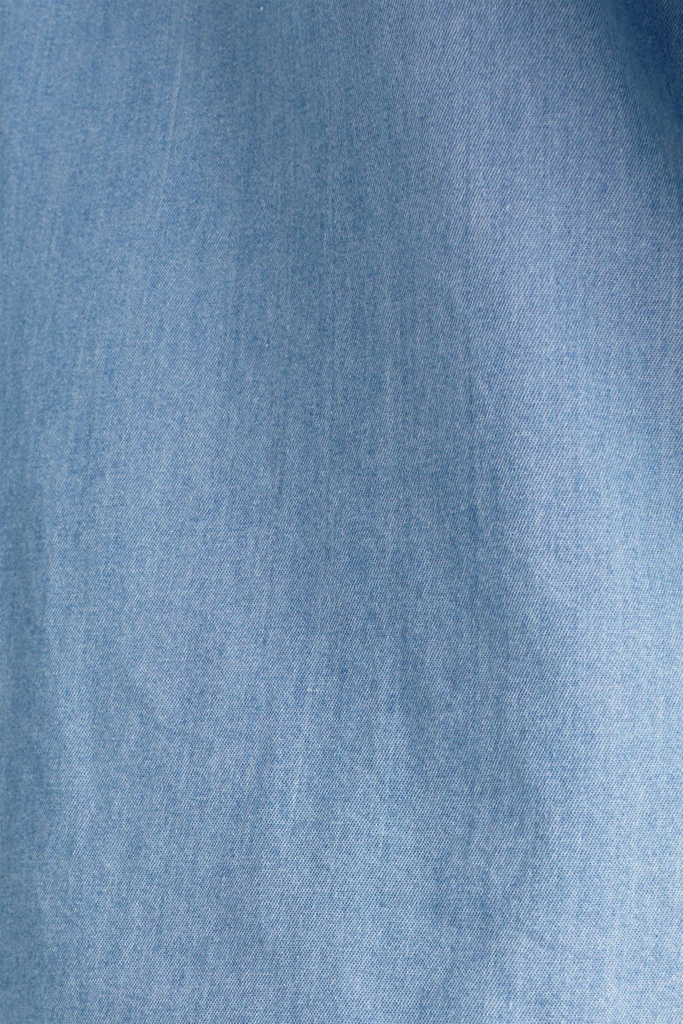 Collarless denim blouse, 100% cotton, BLUE LIGHT WASH, detail image number 4