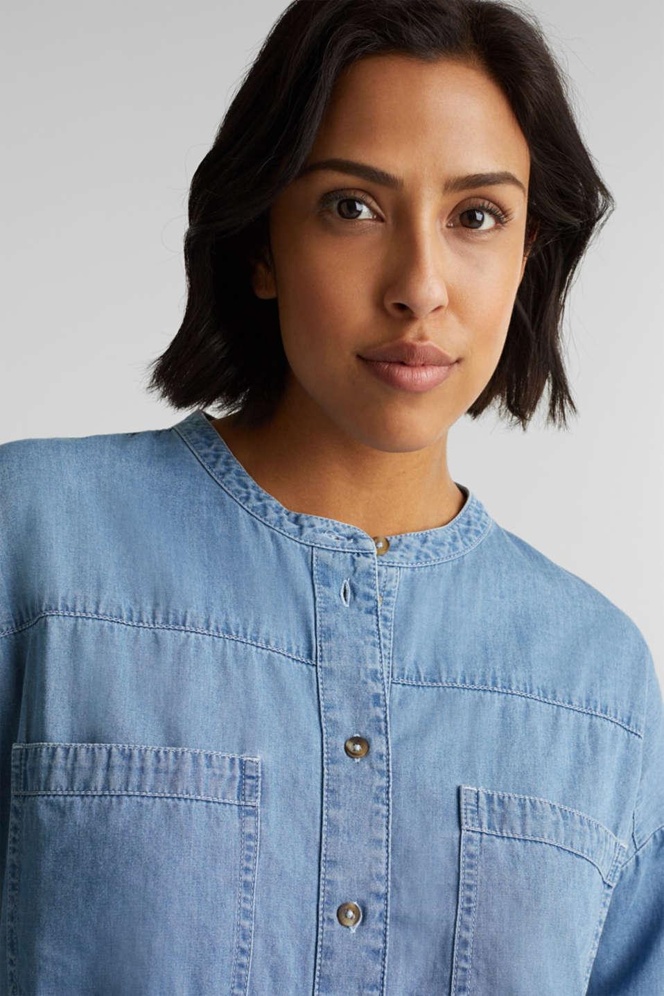 Collarless denim blouse, 100% cotton, BLUE LIGHT WASH, detail image number 6