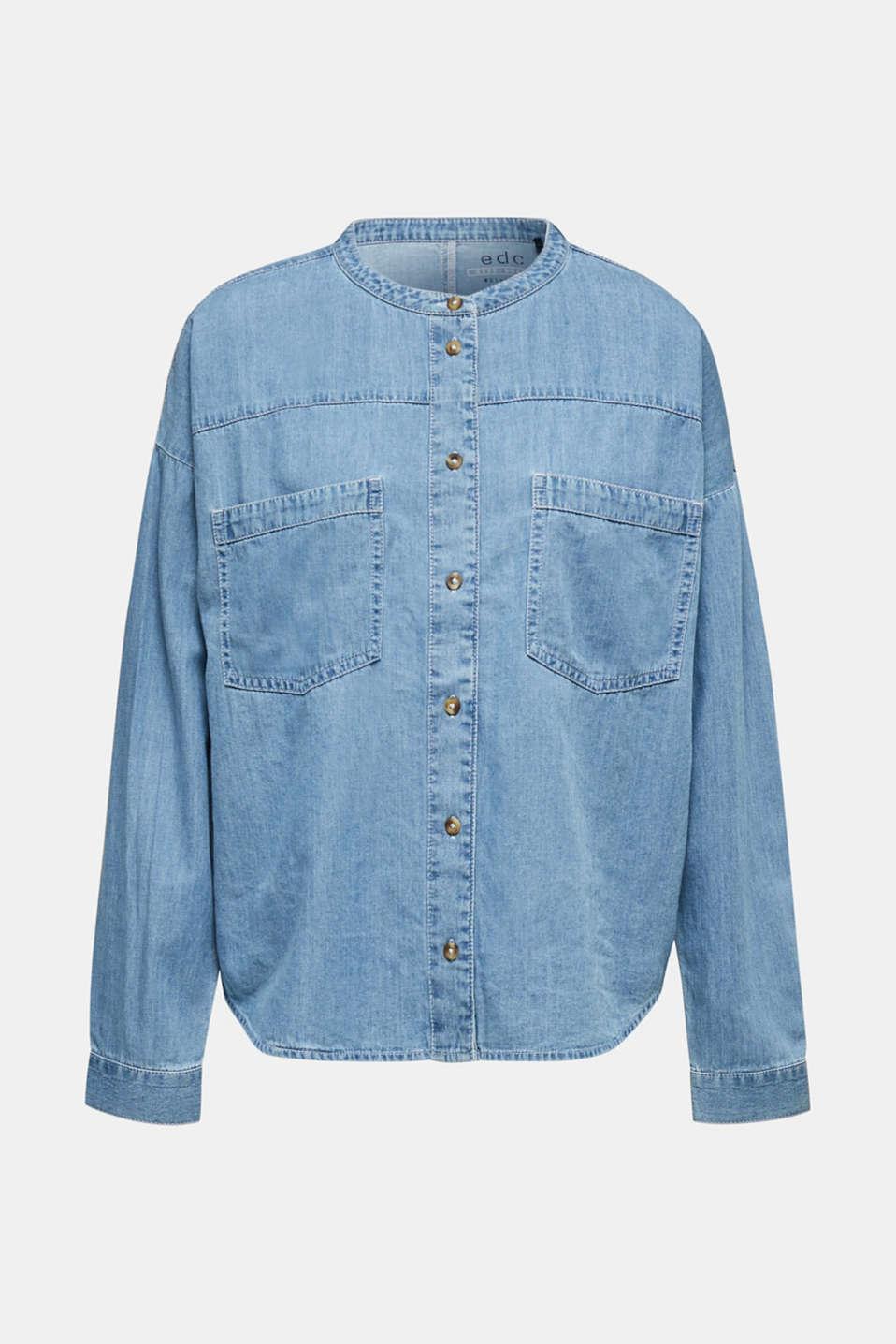 Collarless denim blouse, 100% cotton, BLUE LIGHT WASH, detail image number 7