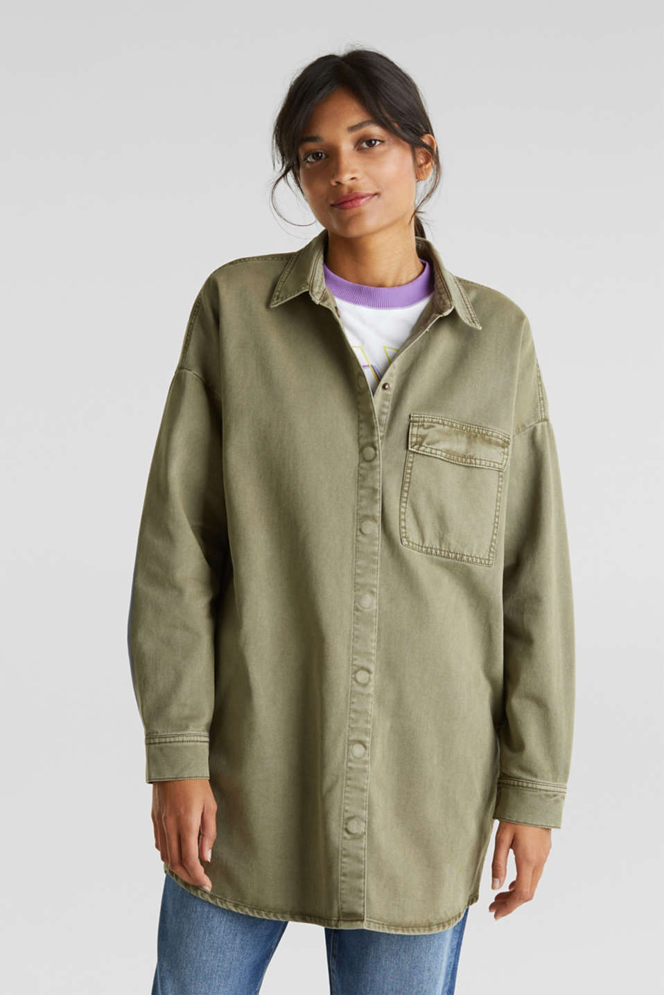 Blouse jacket made of canvas, 100% cotton, KHAKI GREEN, detail image number 5