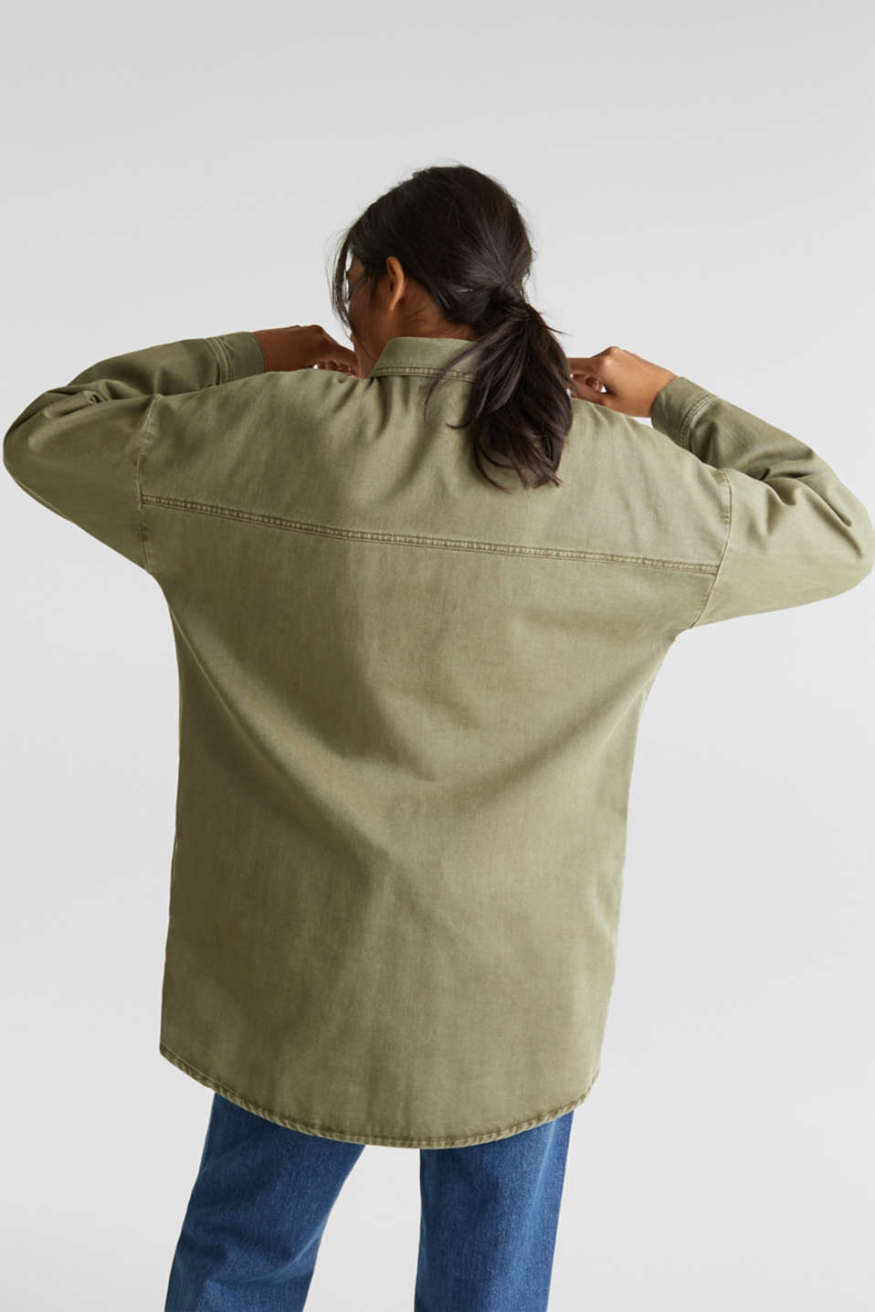 Blouse jacket made of canvas, 100% cotton, KHAKI GREEN, detail image number 3