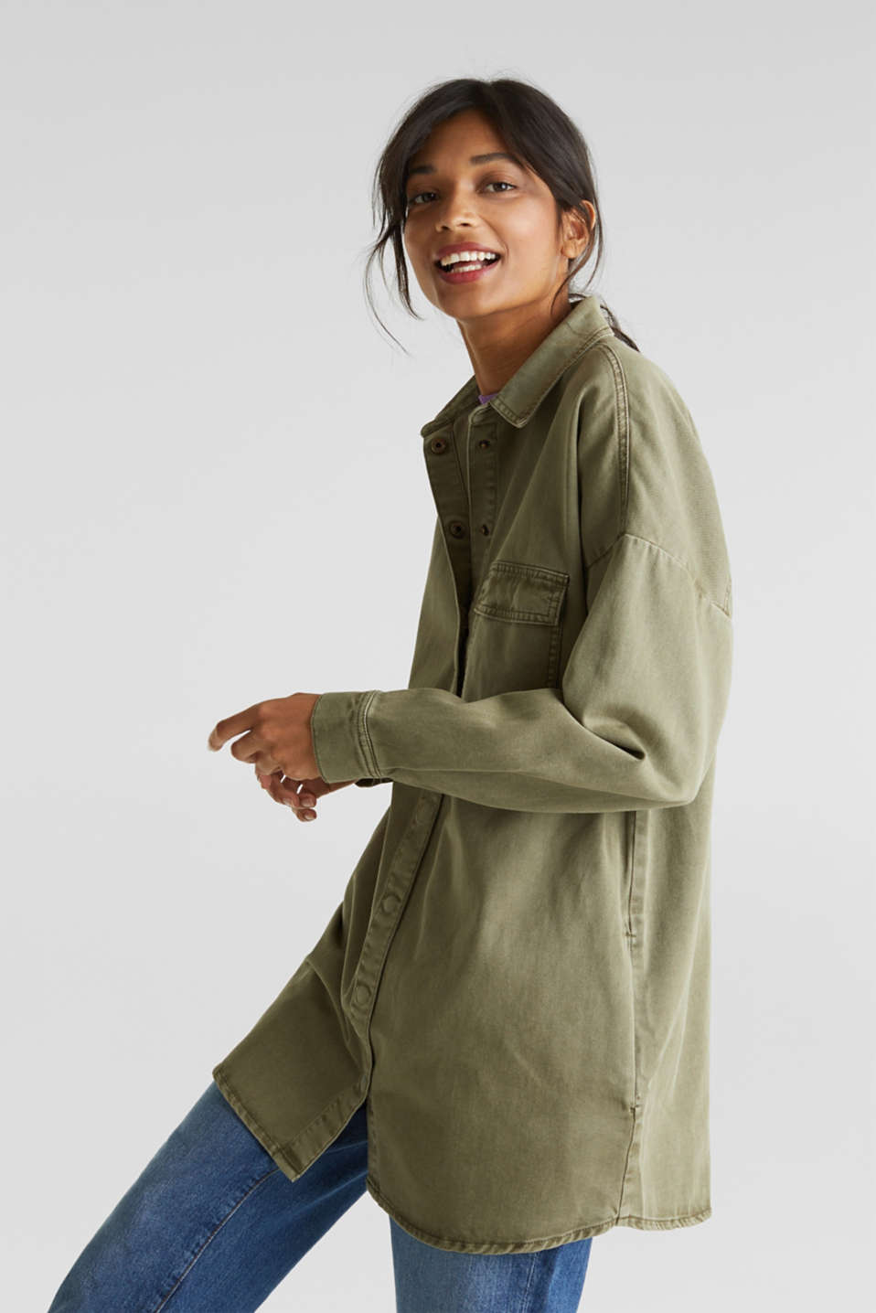 Blouse jacket made of canvas, 100% cotton, KHAKI GREEN, detail image number 0