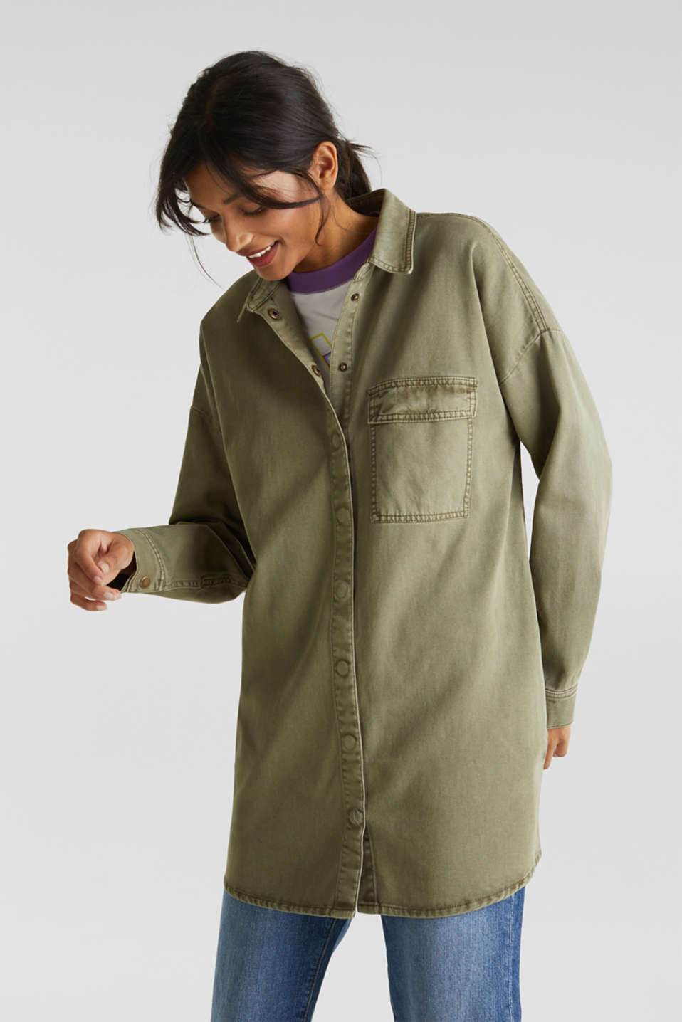 Blouse jacket made of canvas, 100% cotton, KHAKI GREEN, detail image number 7