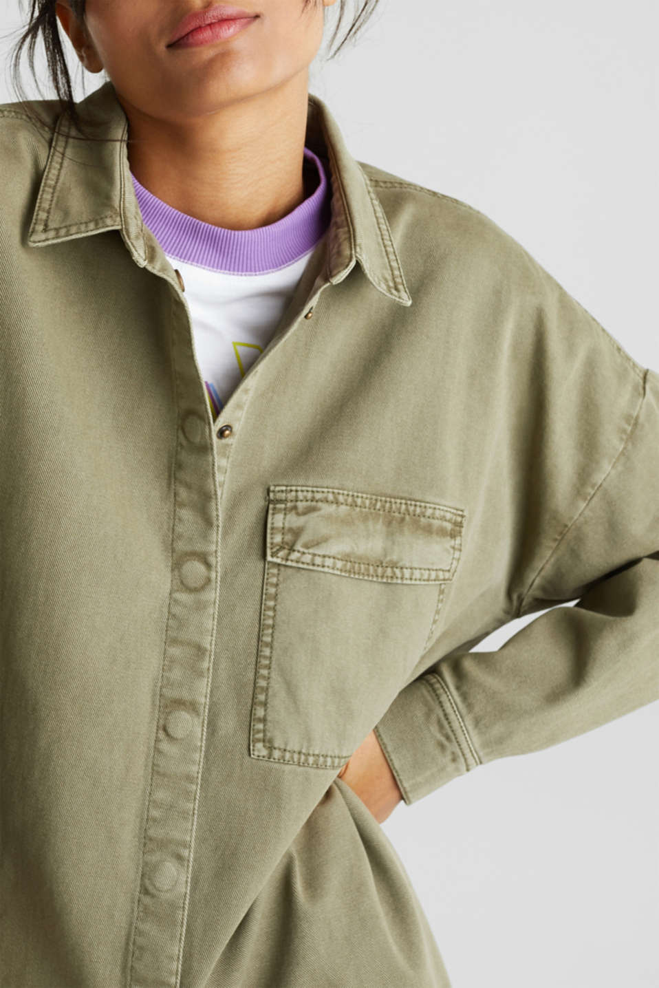 Blouse jacket made of canvas, 100% cotton, KHAKI GREEN, detail image number 2