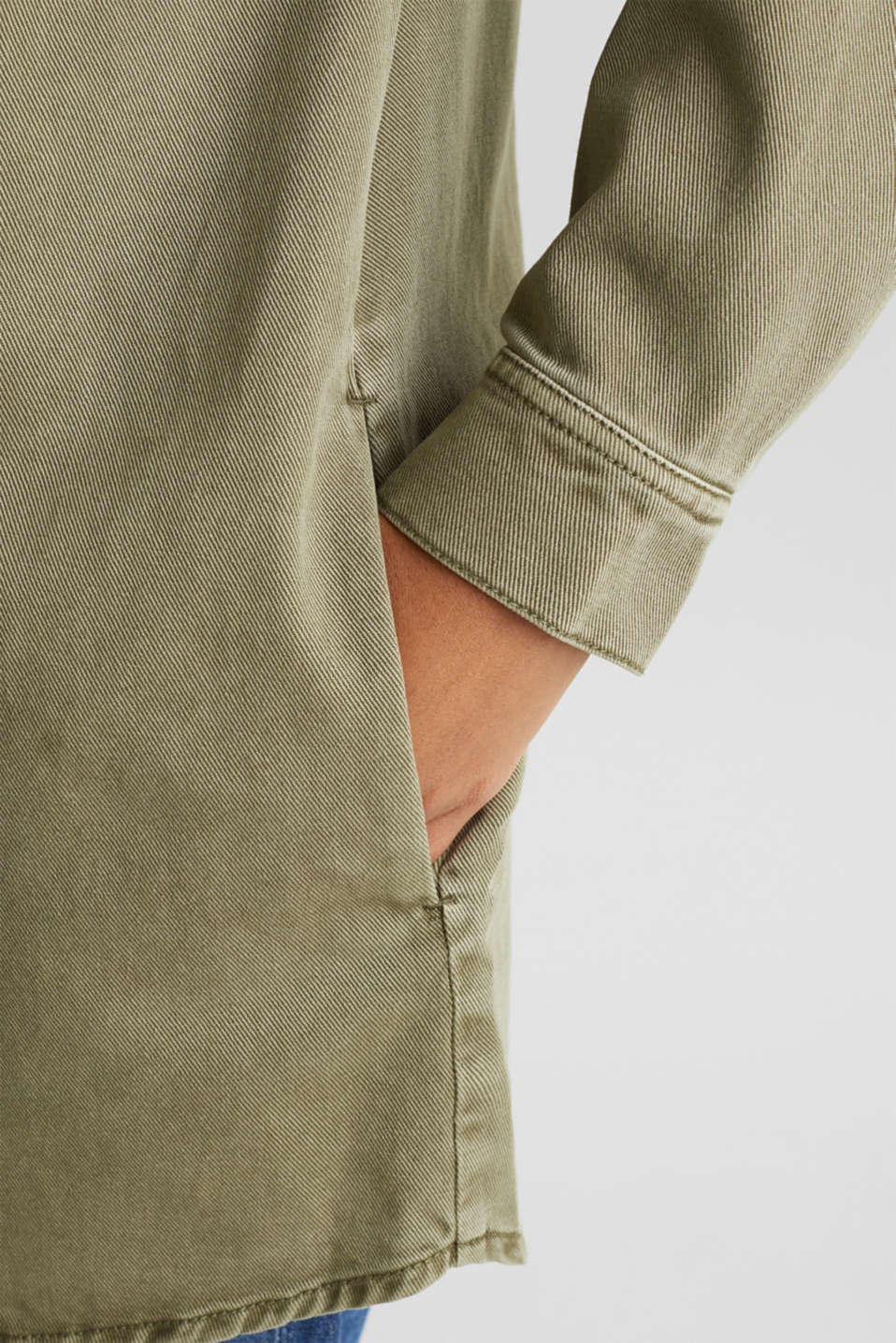 Blouse jacket made of canvas, 100% cotton, KHAKI GREEN, detail image number 6
