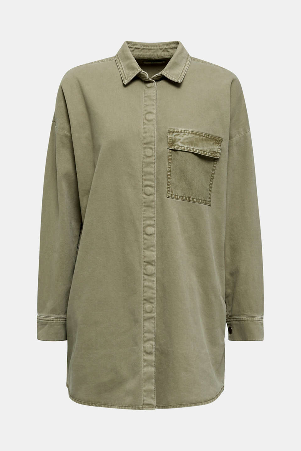 Blouse jacket made of canvas, 100% cotton, KHAKI GREEN, detail image number 8