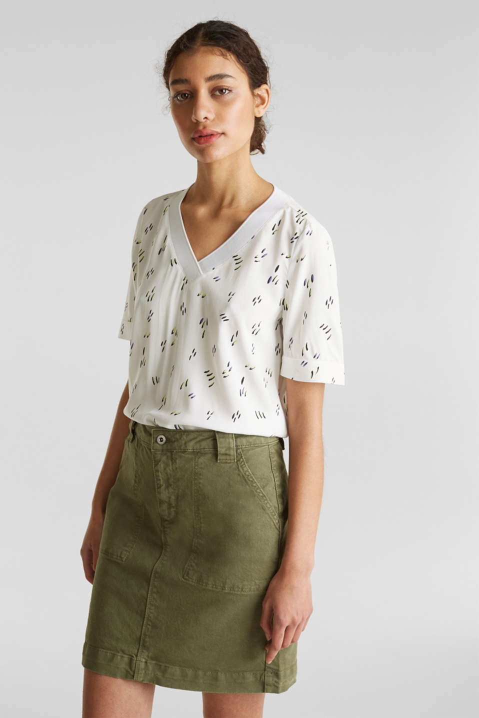 Blouse top with jersey details, WHITE, detail image number 0