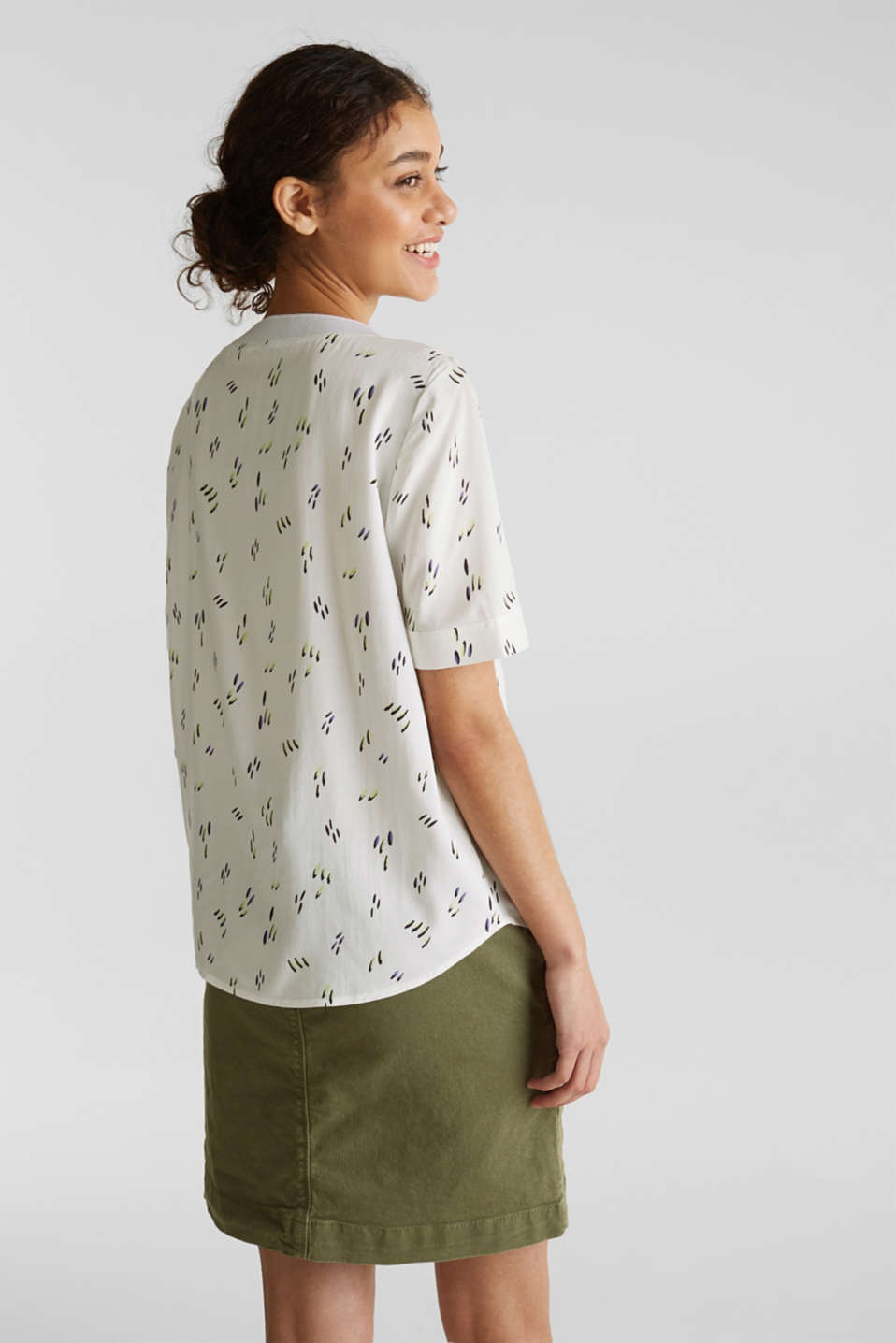 Blouse top with jersey details, WHITE, detail image number 3