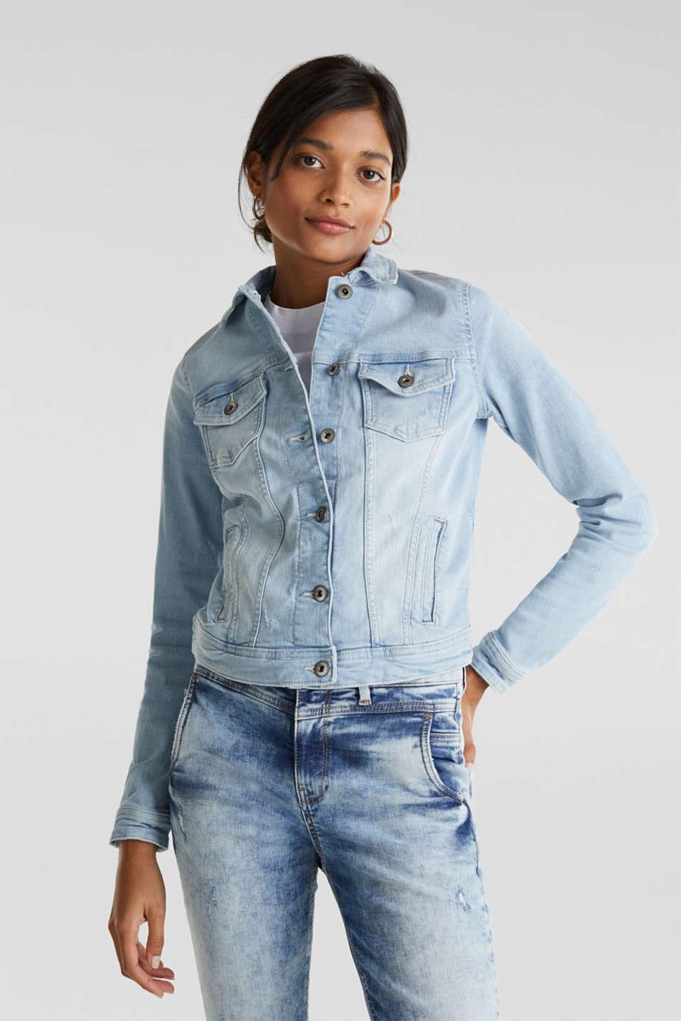 Denim jacket with organic cotton, BLUE LIGHT WASH, detail image number 0