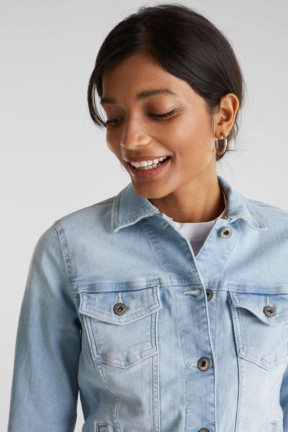 Denim jacket with organic cotton, BLUE LIGHT WASH, detail image number 2