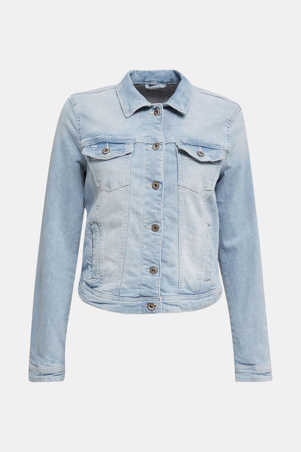 Denim jacket with organic cotton, BLUE LIGHT WASH, detail image number 5