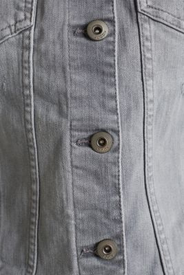 Fitted denim jacket with a vintage finish, GREY LIGHT WASH, detail