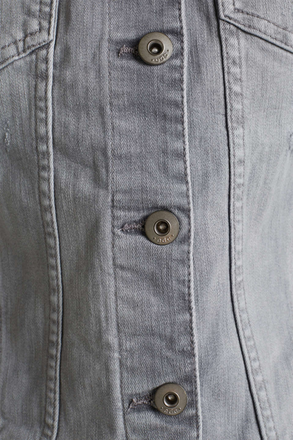 Fitted denim jacket with a vintage finish, GREY LIGHT WASH, detail image number 3
