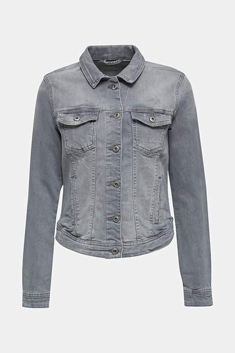 Fitted denim jacket with a vintage finish