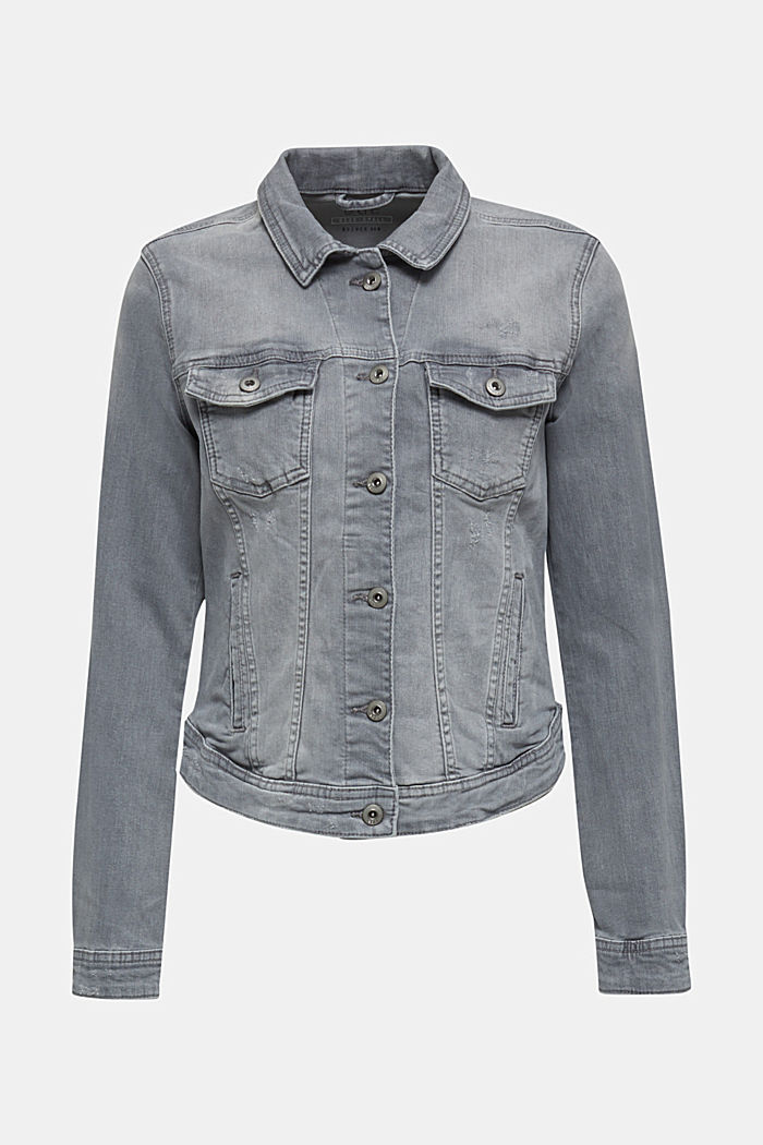 Taillierte Jeans-Jacke im Used-Look, GREY LIGHT WASHED, detail image number 6