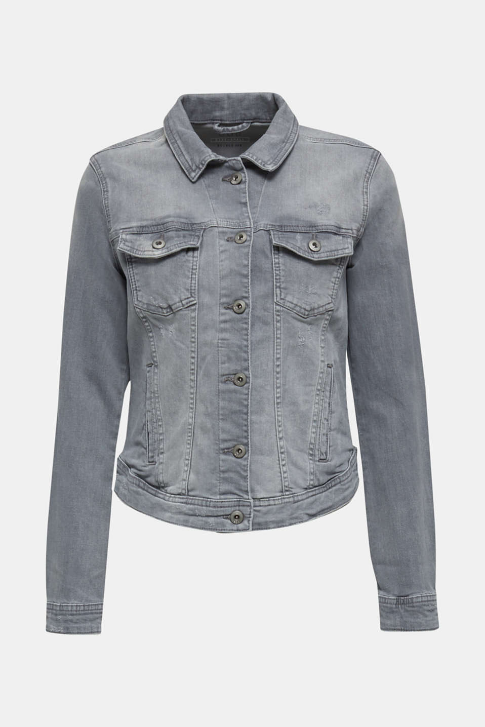 Fitted denim jacket with a vintage finish, GREY LIGHT WASH, detail image number 6