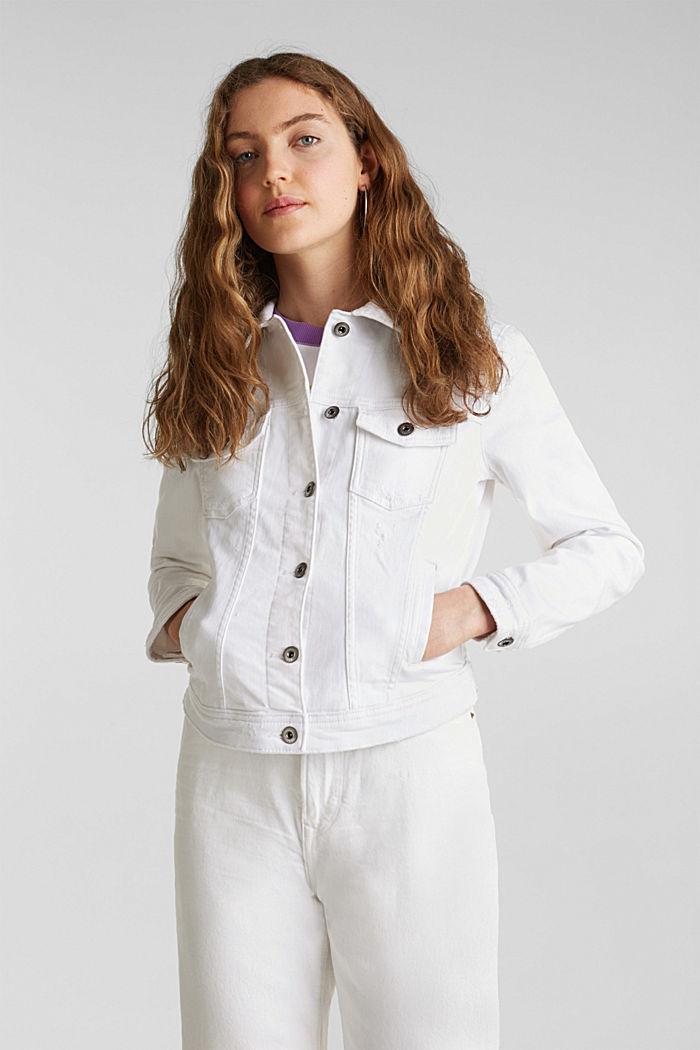 Stretch denim jacket, WHITE, detail image number 0