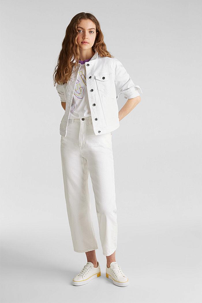 Stretch denim jacket, WHITE, detail image number 1
